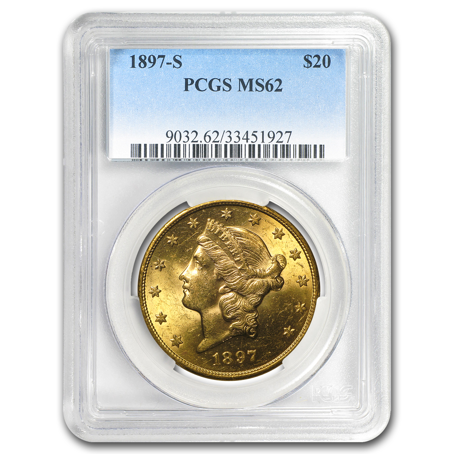 5-Coin $20 Liberty Gold Dble Eagle Set MS-62 PCGS (1800s S-Mint)