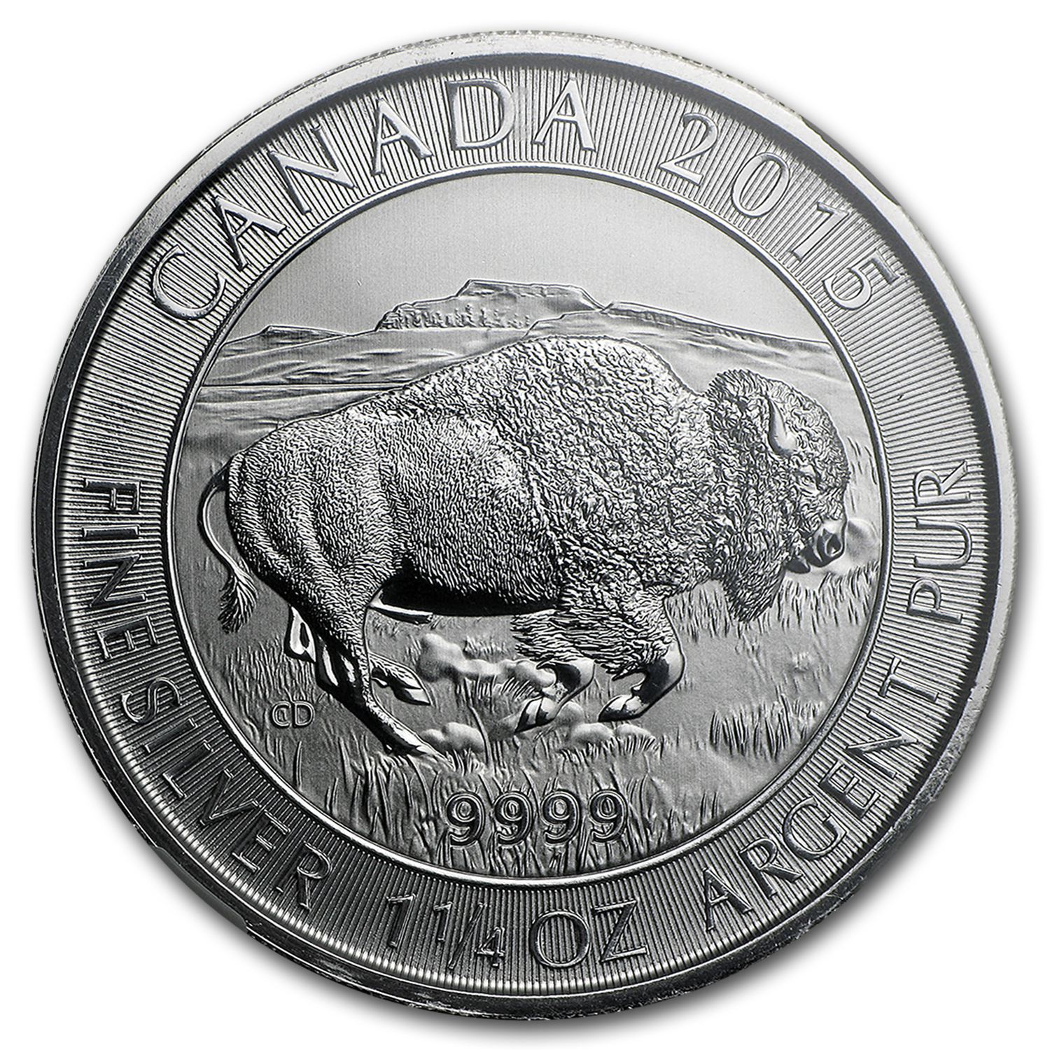 2015 Canada 1.25 oz Silver $8 Bison MS-70 NGC
