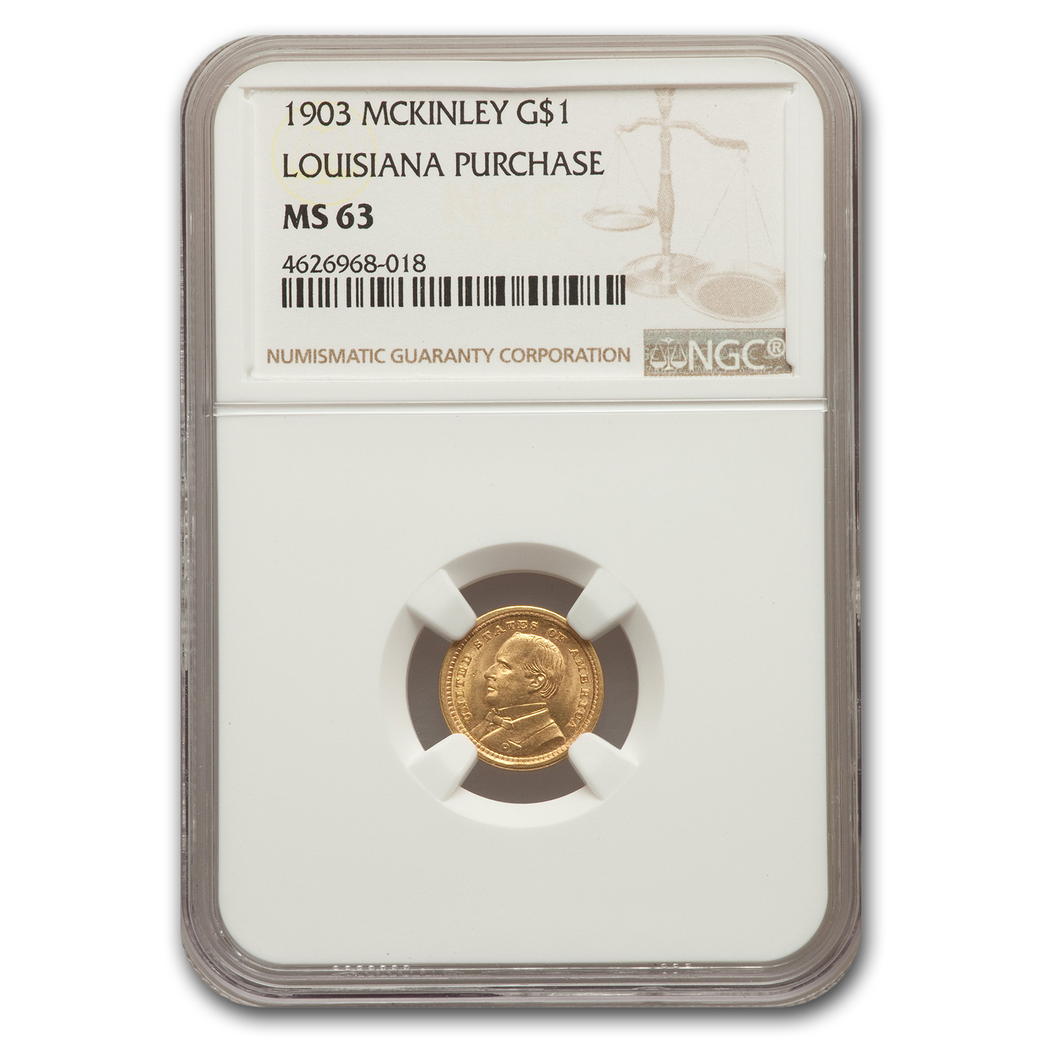 1903 Gold $1.00 Louisiana Purchase McKinley MS-63 NGC