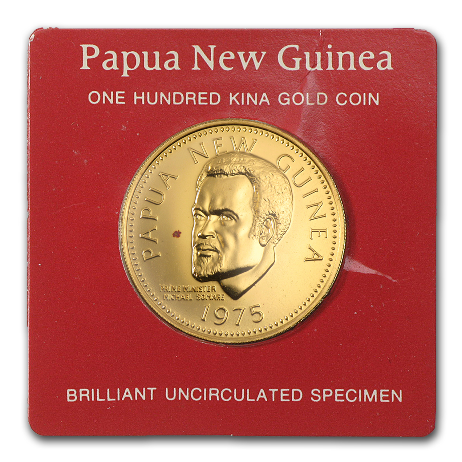 1975 Papua New Guinea Gold 100 Kina BU/Proof