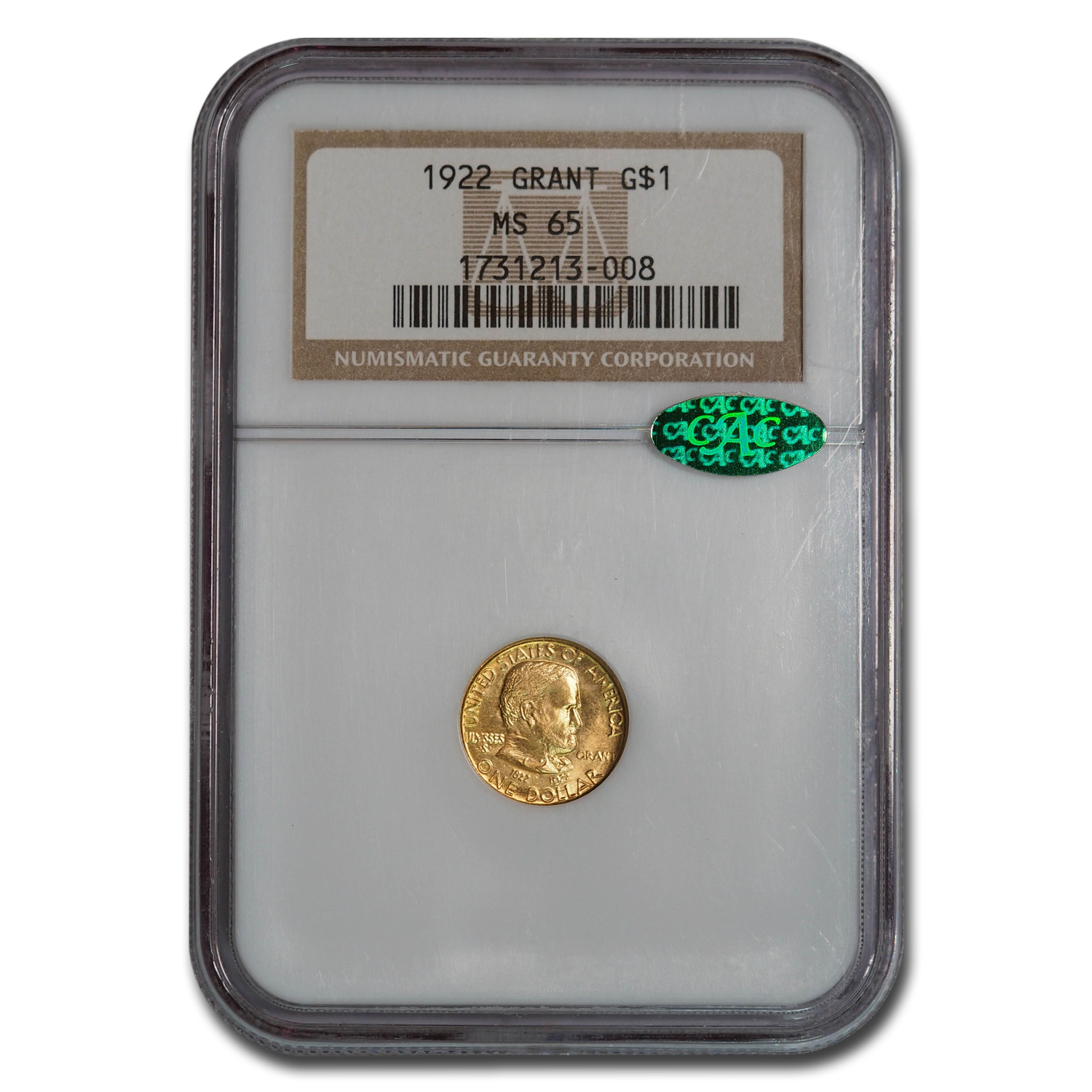 1922 Gold $1.00 Grant No Star MS-65 NGC (CAC)