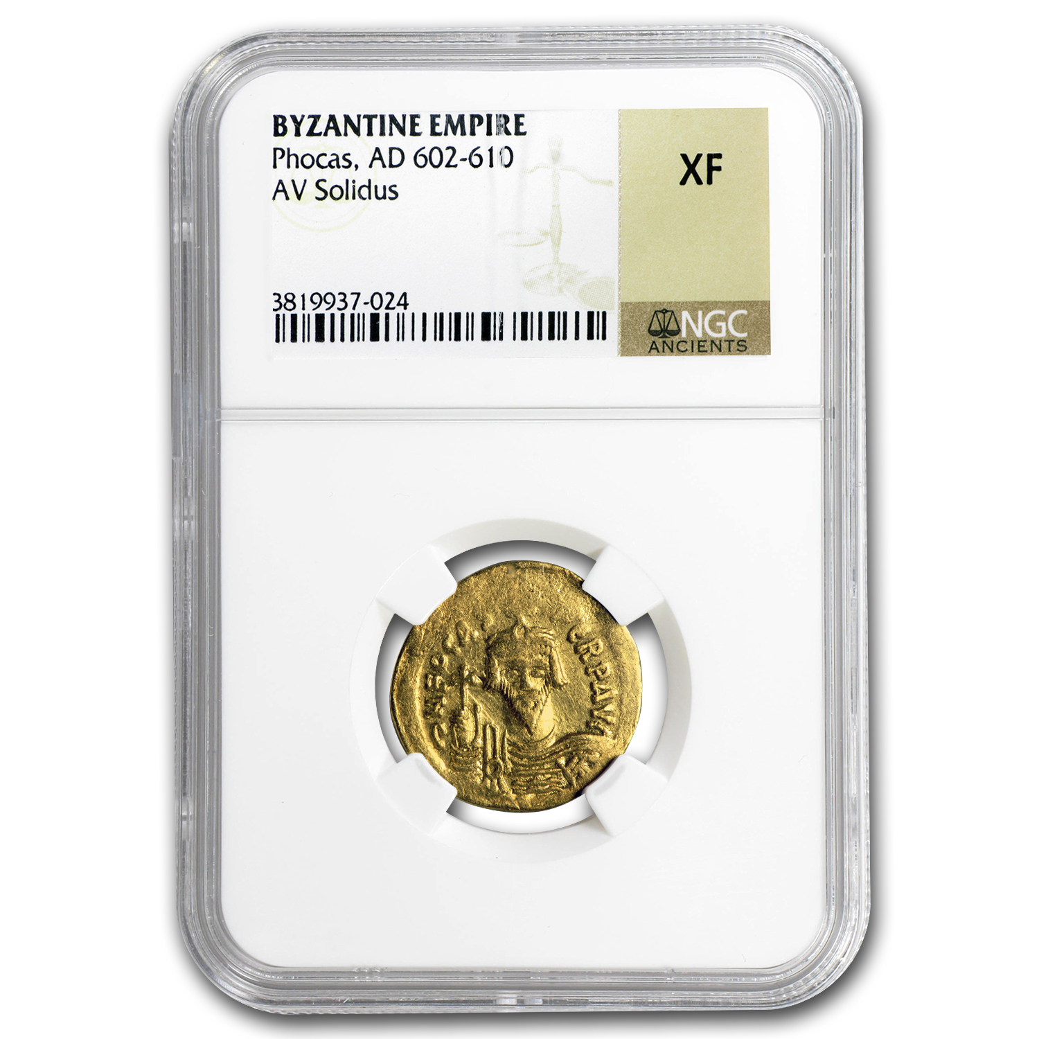 Byzantine Gold Emperor Solidus Phocas (602-610 AD) XF NGC