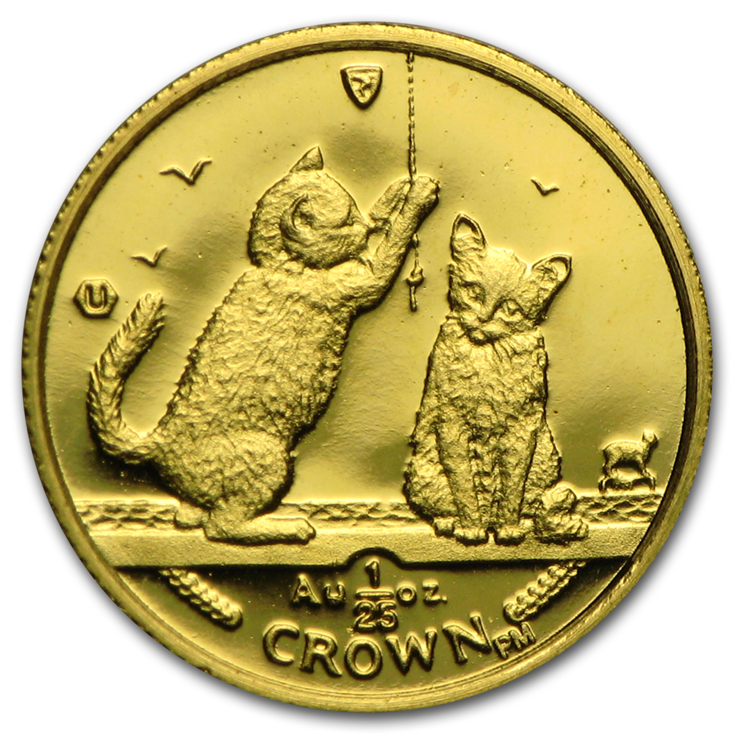 2001 Isle of Man 1/25 oz Gold Somali Kittens Cat BU