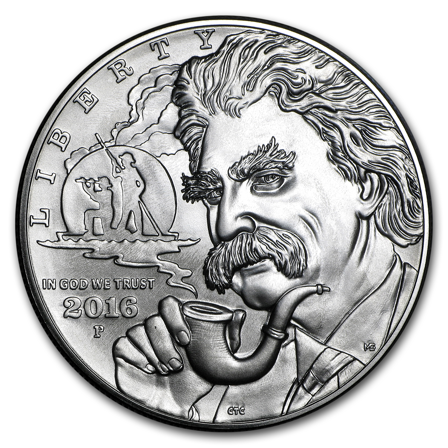 2016-P Mark Twain $1 Silver Commem BU (w/Box & COA)