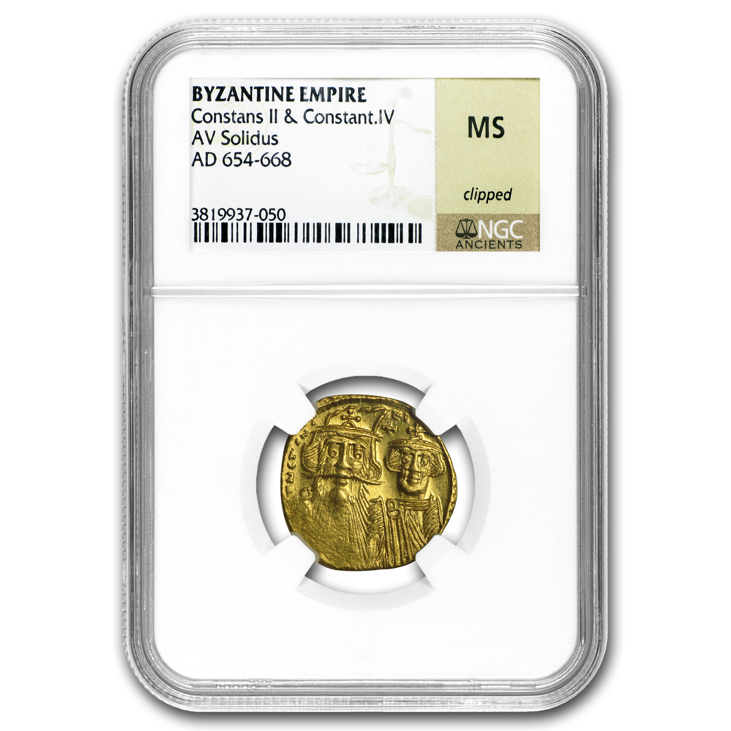 Byzantine Gold Constans II, Constant. IV (654-668 AD) MS NGC