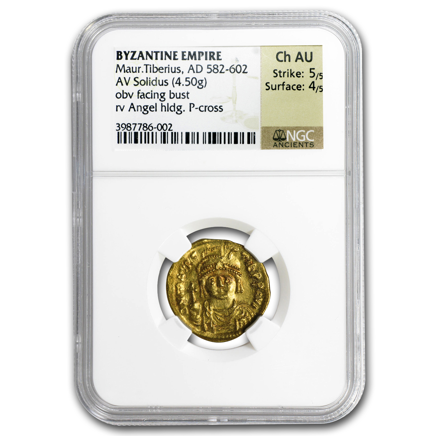 Byzantine Gold Solidus Maurice Tiberius (582-602 AD) CH AU NGC