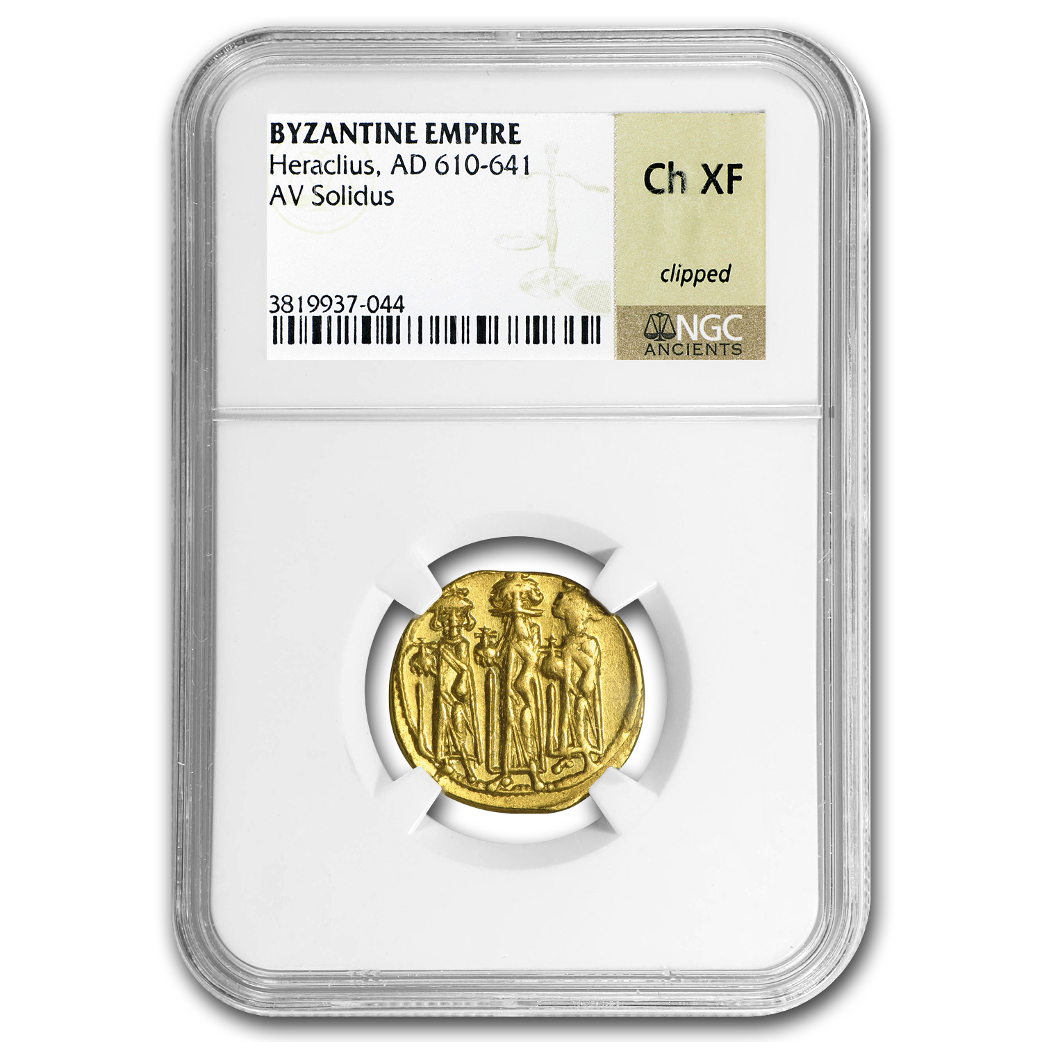 Byzantine Gold Emperor Heraclius (610-641 AD) CH XF NGC
