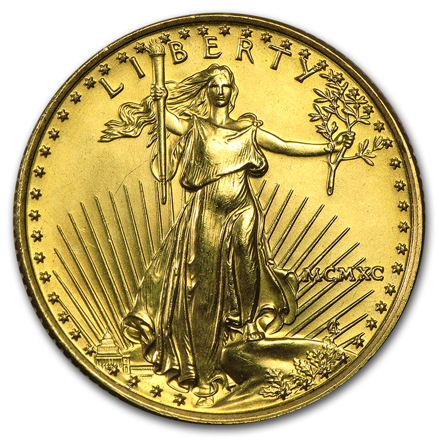1990 MCMXC 1/4 oz Gold American Eagle (BU)