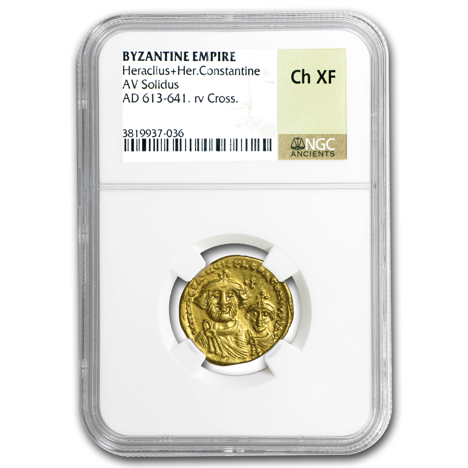Byzantine Gold Solidus Emperor Heraclius (613-641 AD) CH XF NGC
