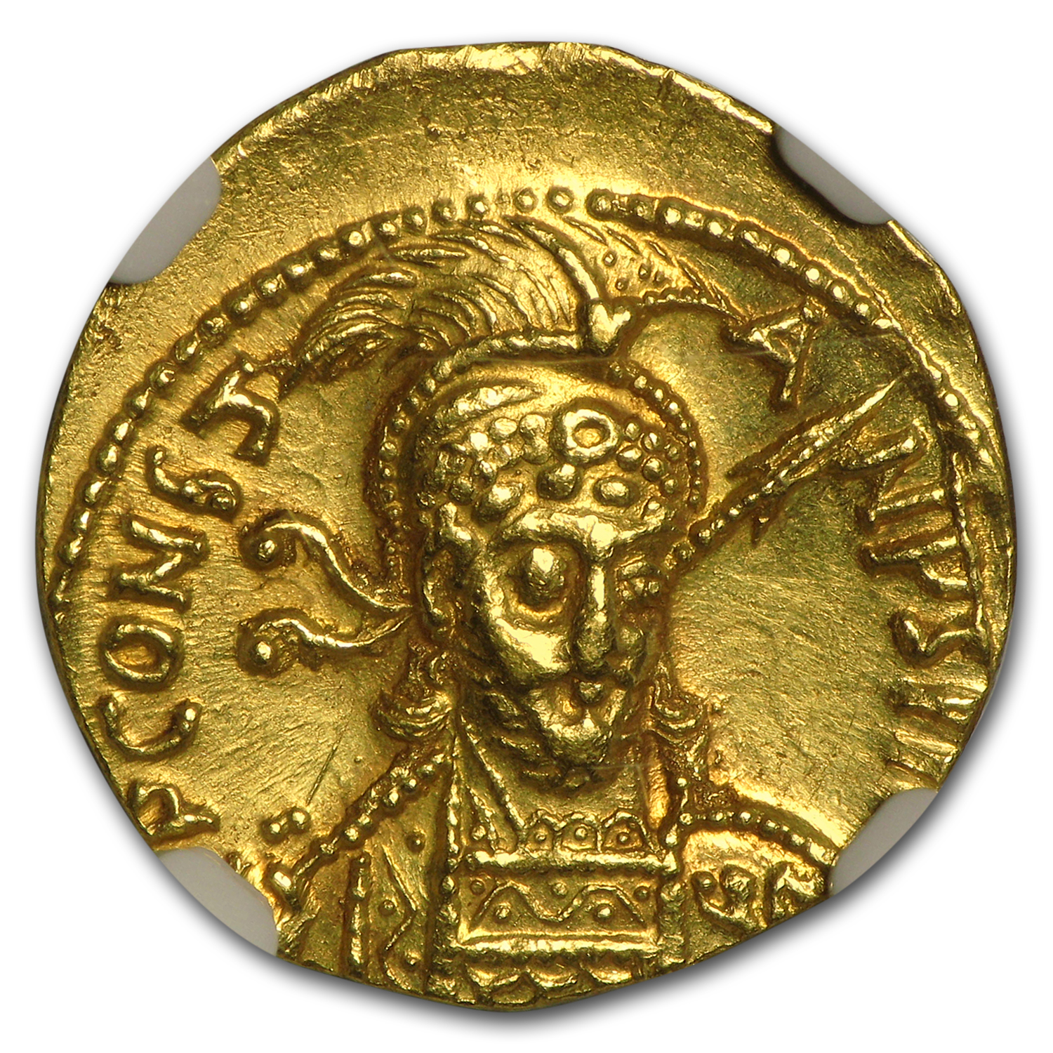 Byzantine Gold Solidus Emperor Constantine IV (668-685 AD) AU NGC
