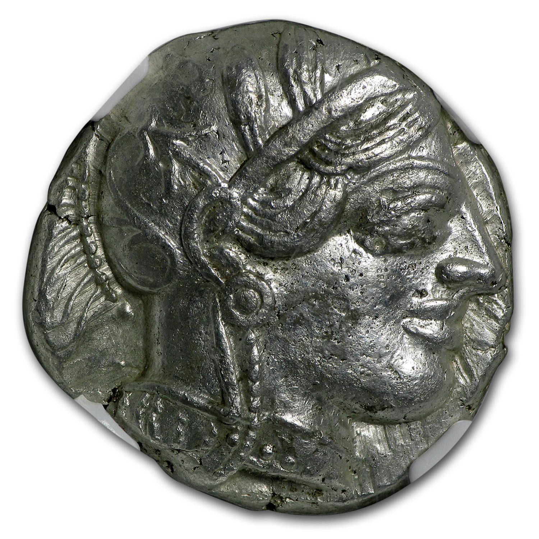 Attica Athens Silver Tetradrachm (440-404 BC) AU NGC