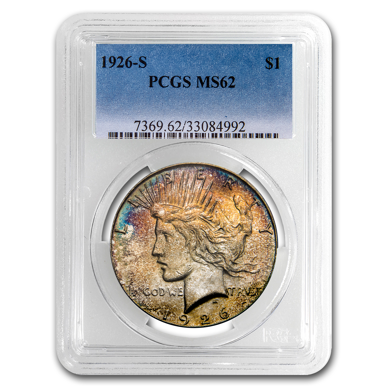 1926-S Peace Dollar MS-62 PCGS (Beautiful Toning)