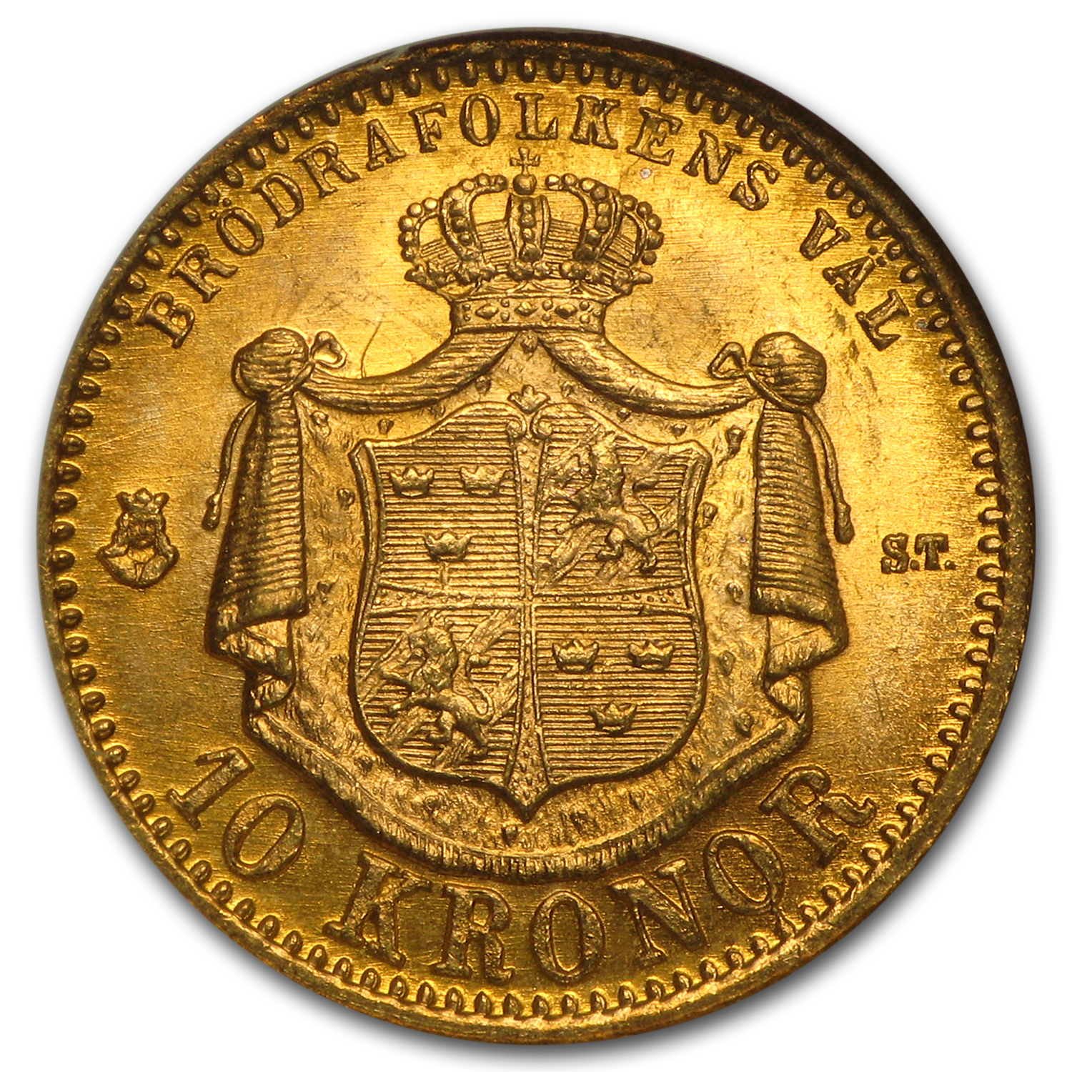 1874/3 Sweden Gold 10 Kronor MS-65 NGC