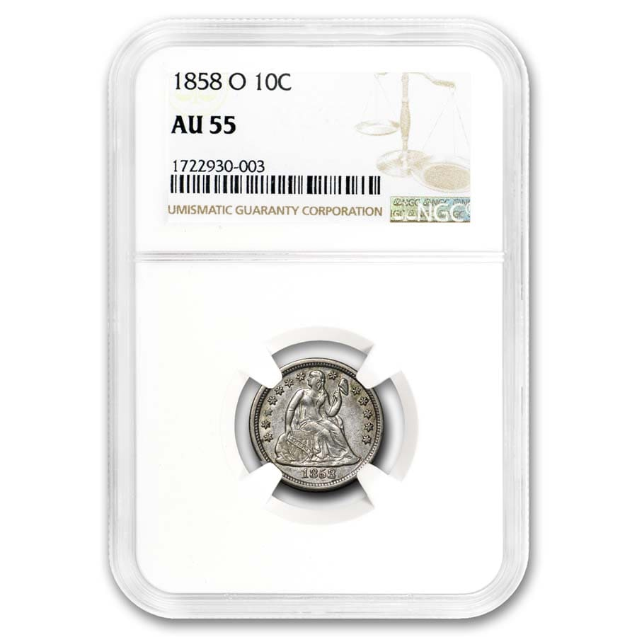 1858-O Liberty Seated Dime AU-55 NGC