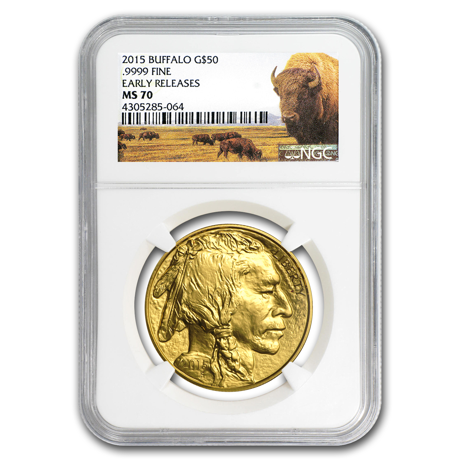 2015 1 oz Gold Buffalo MS-70 NGC (Early Releases, Buffalo Label)
