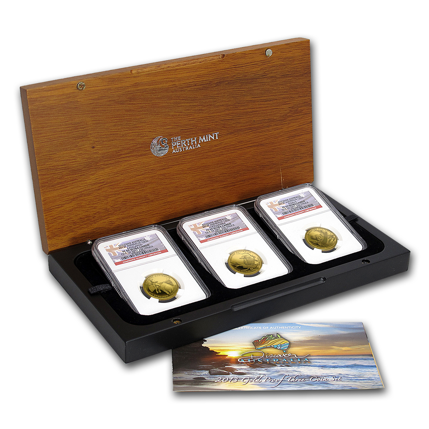 2013-P Gold Discover Australia 3-Coin Set PF-69 NGC (1st 250)