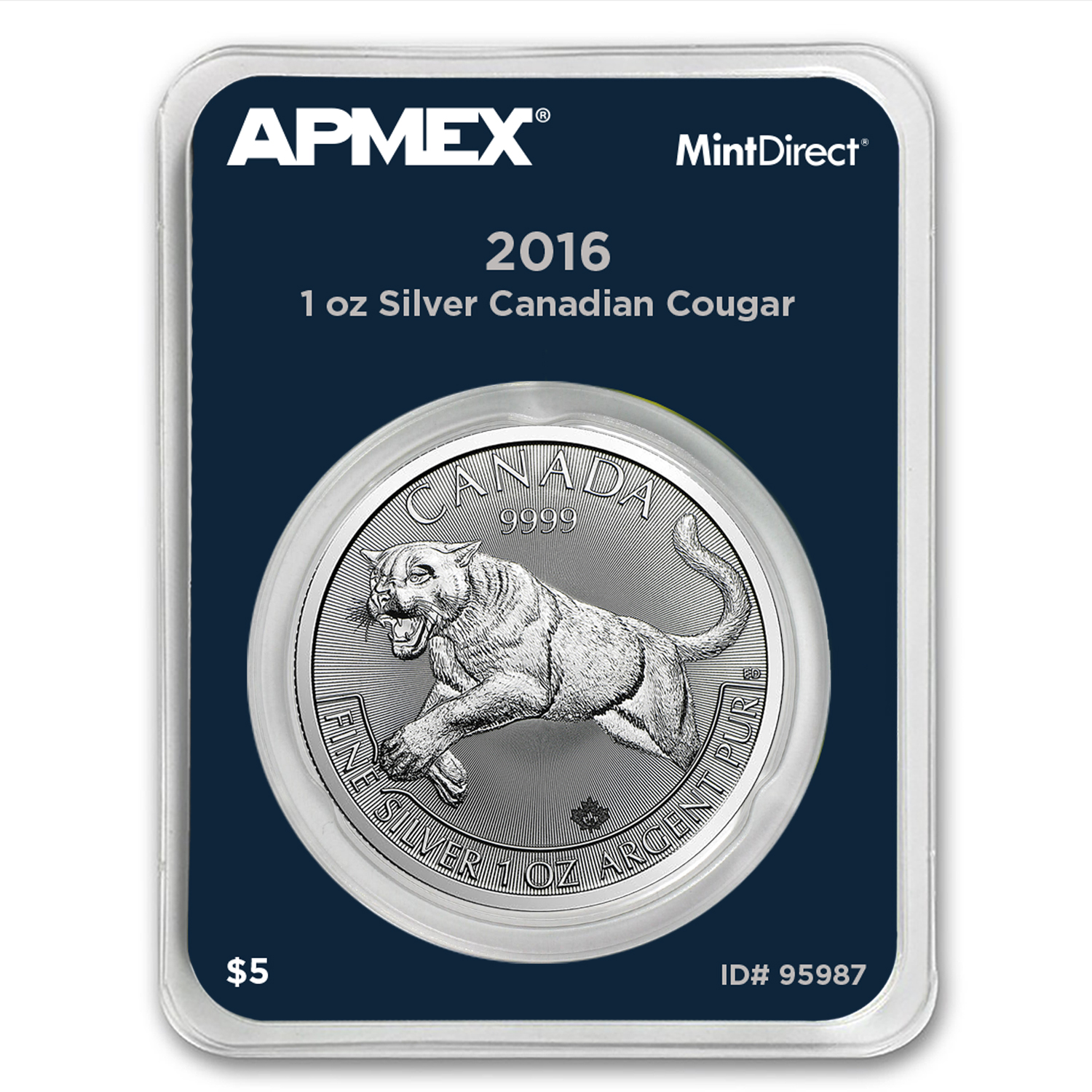 2016 RCM 1 oz Silver Predator Series Cougar (MintDirect® Single)