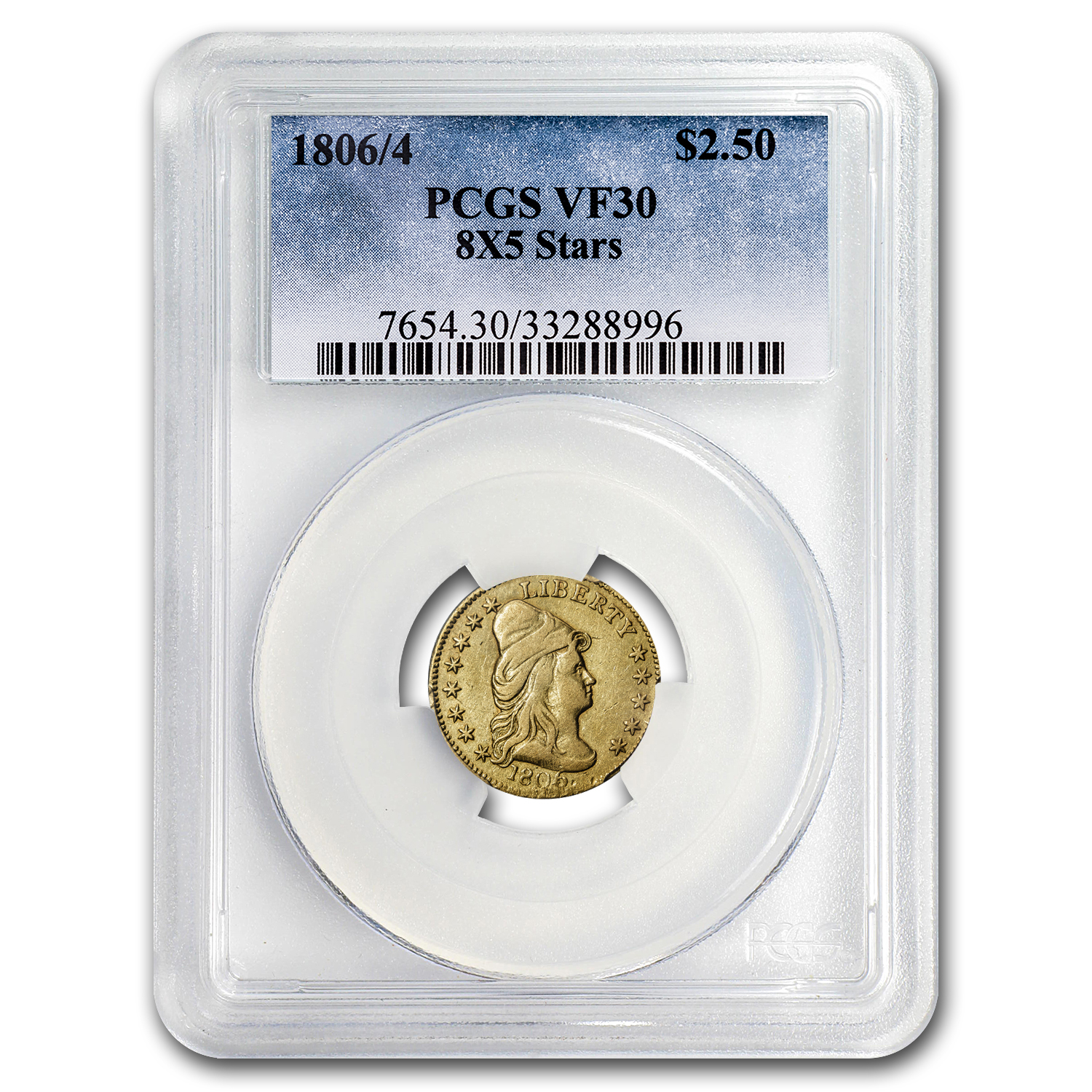1806/4 $2.50 Gold Capped Bust to Right 8x5 Stars VF-30 PCGS