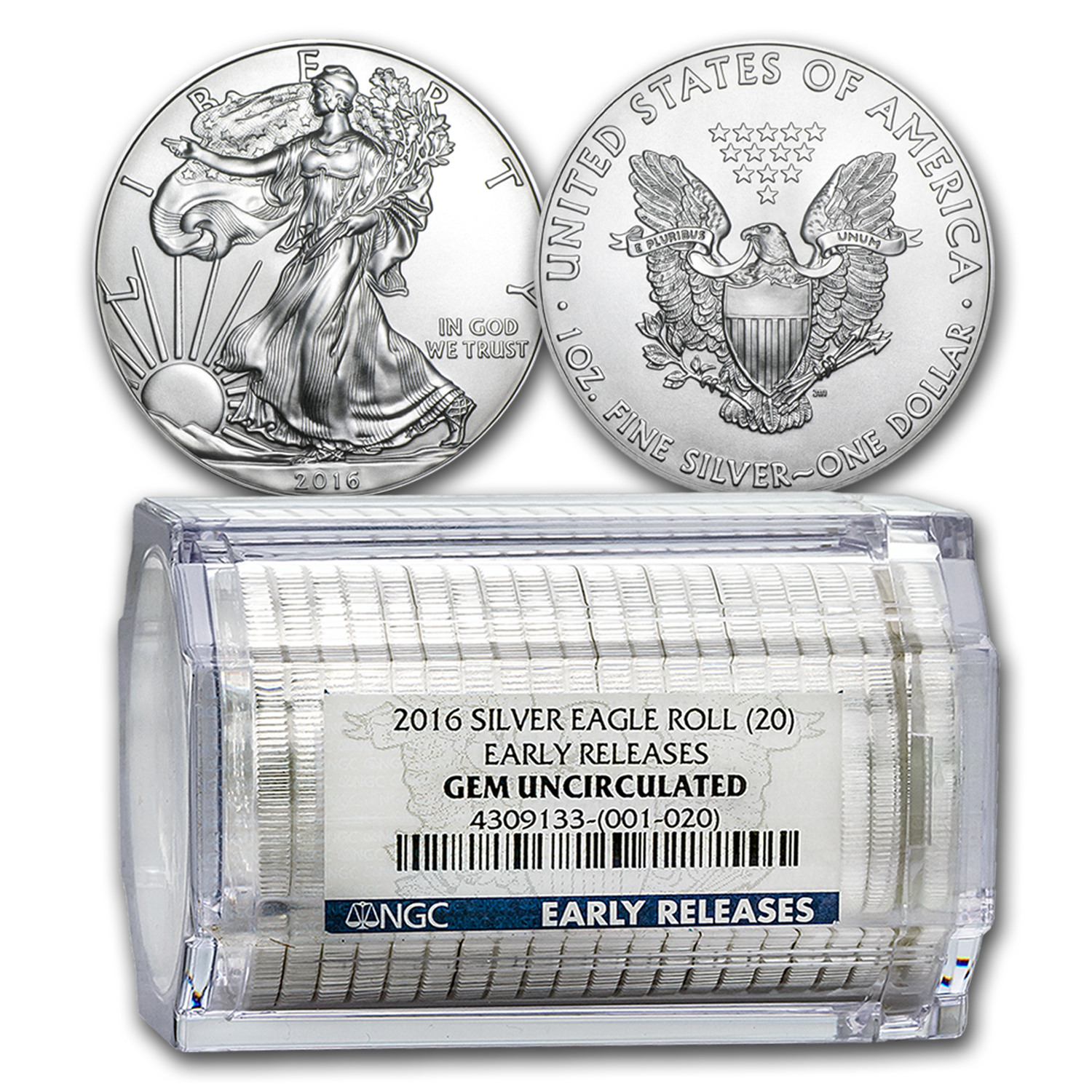 2016 20-Coin Silver American Eagle Sealed Tube Gem BU NGC (ER)