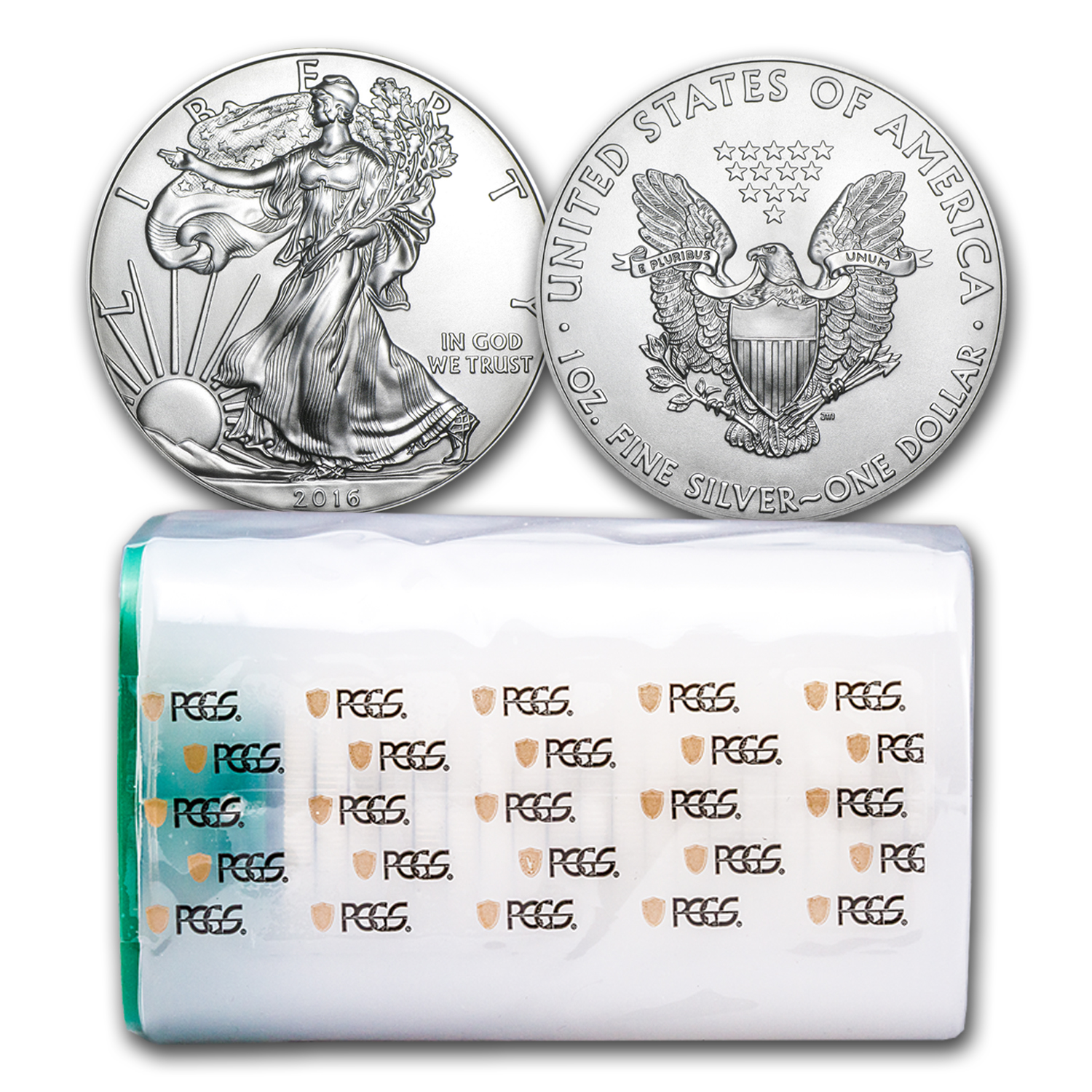 2016 20-Coin Silver American Eagle Tube MS-69 PCGS (FS)