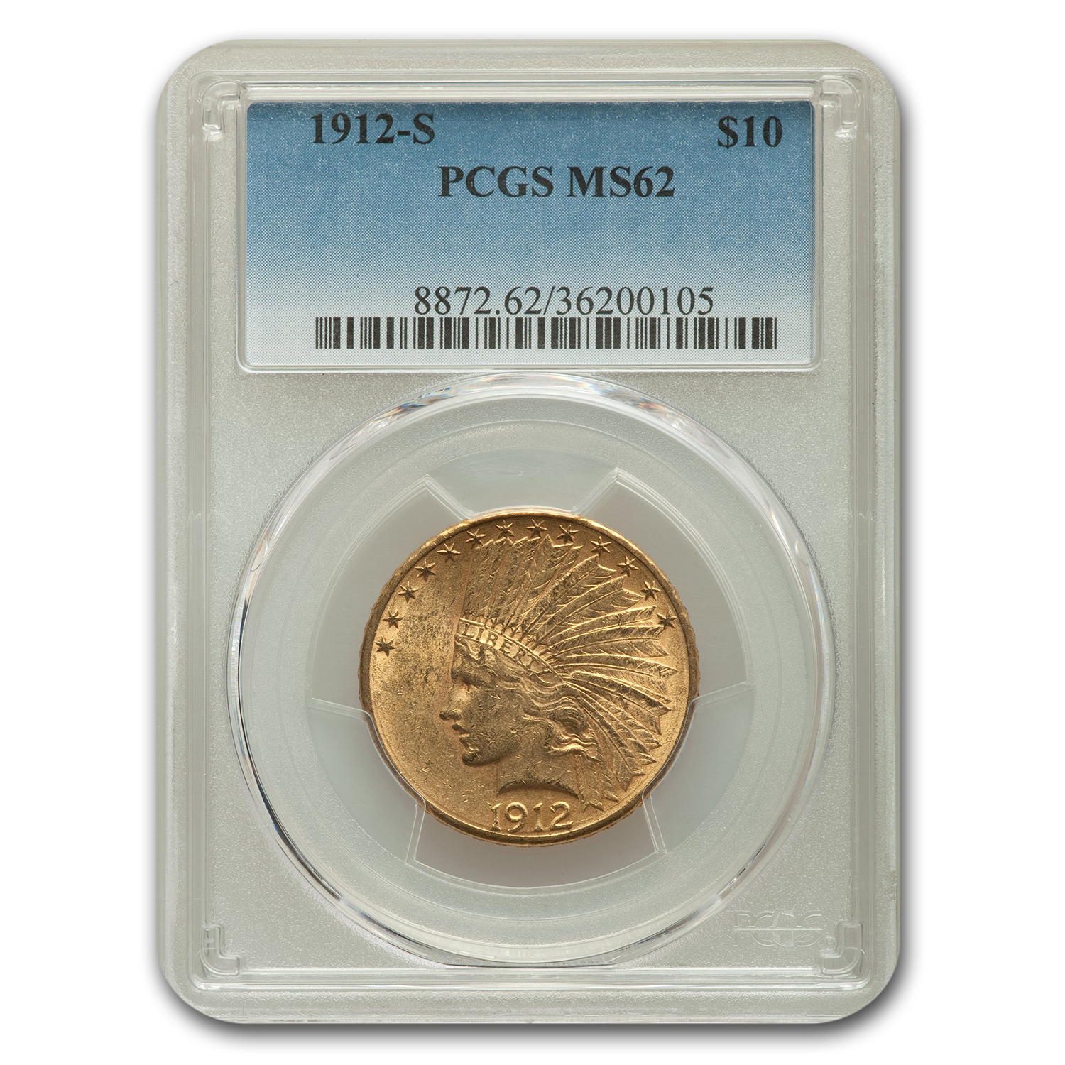1912-S $10 Indian Gold Eagle MS-62 PCGS