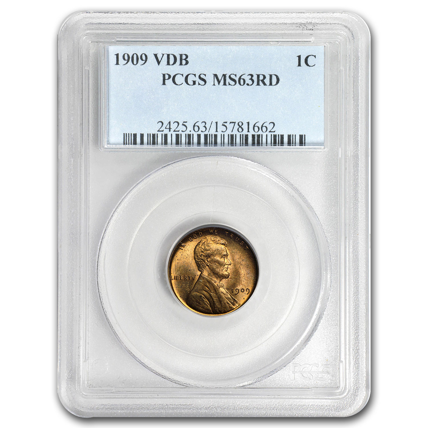 1909 VDB Lincoln Cent MS-63 PCGS (Red)