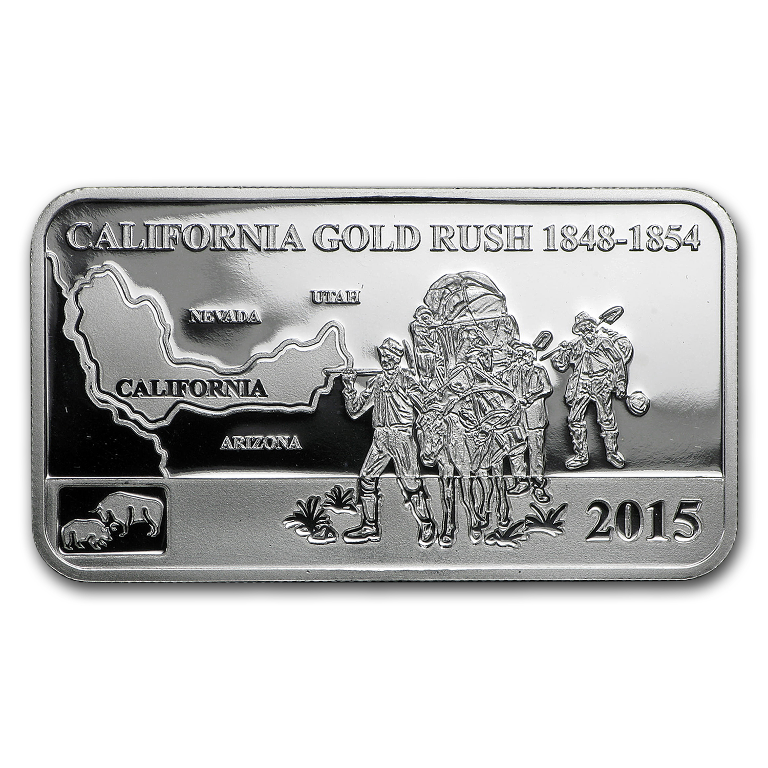 2015 Cook Islds 1/2 oz Silver Global Trade California Gold Rush