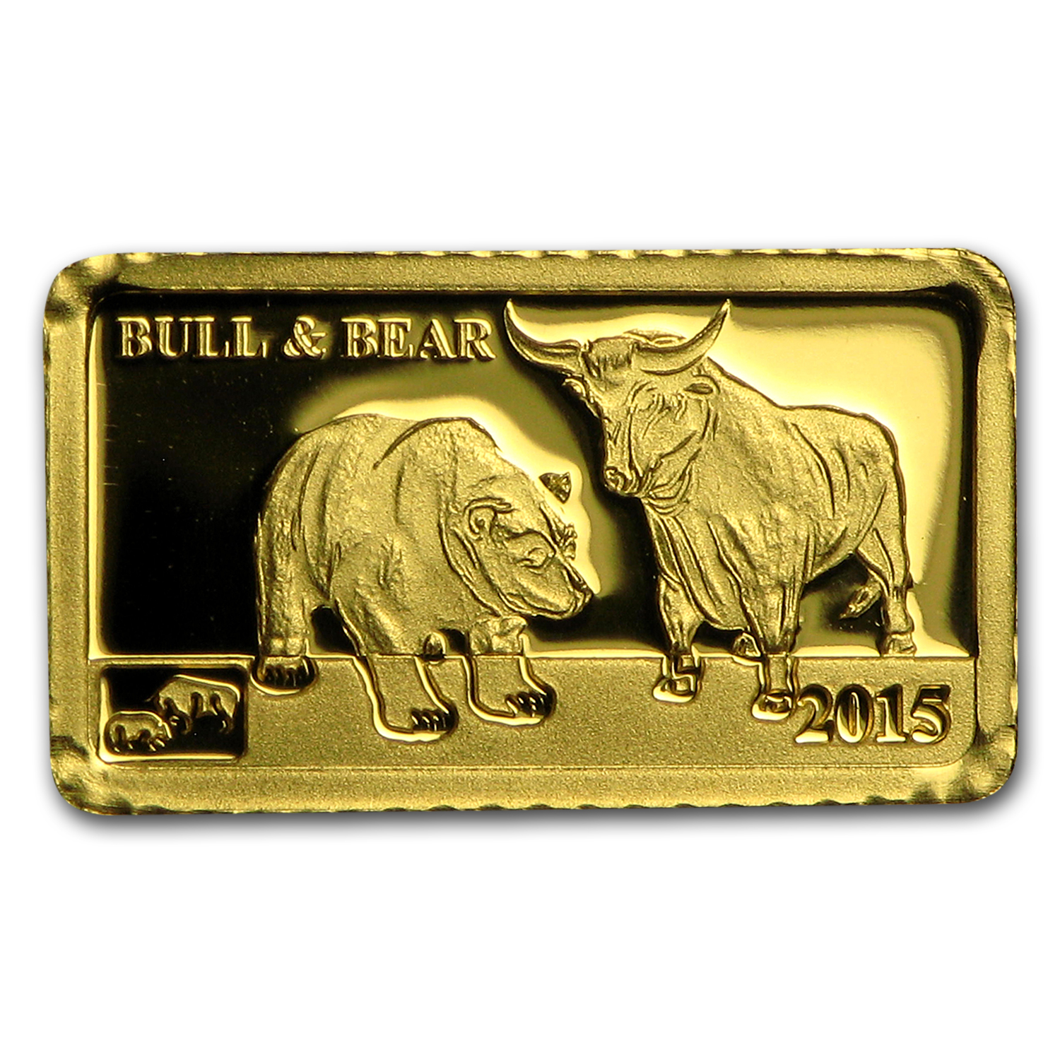 2015 Cook Islands 1g Gold Global Trade Bull and Bear