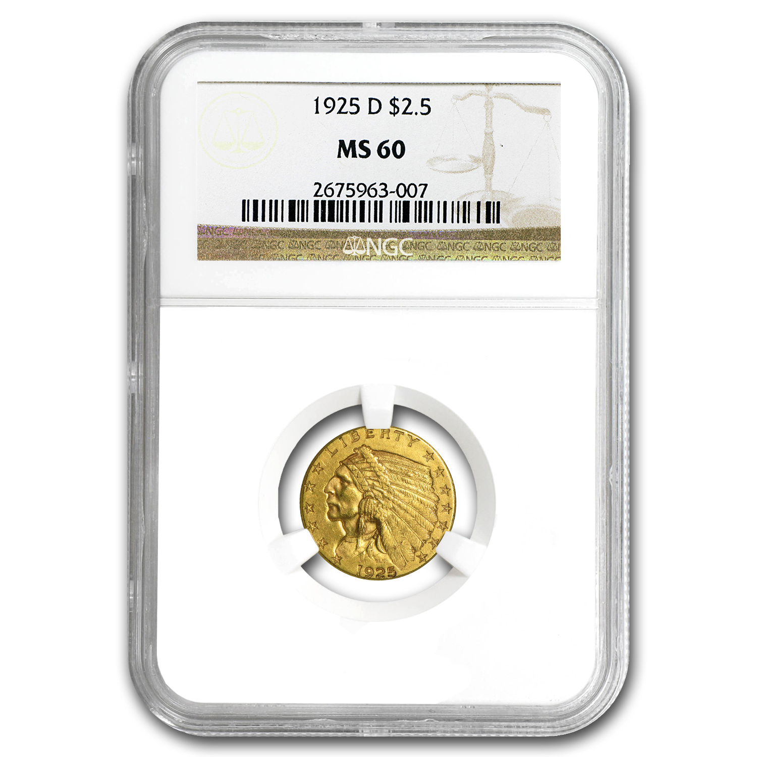 $2.50 Indian Gold Quarter Eagle MS-60 NGC/PCGS