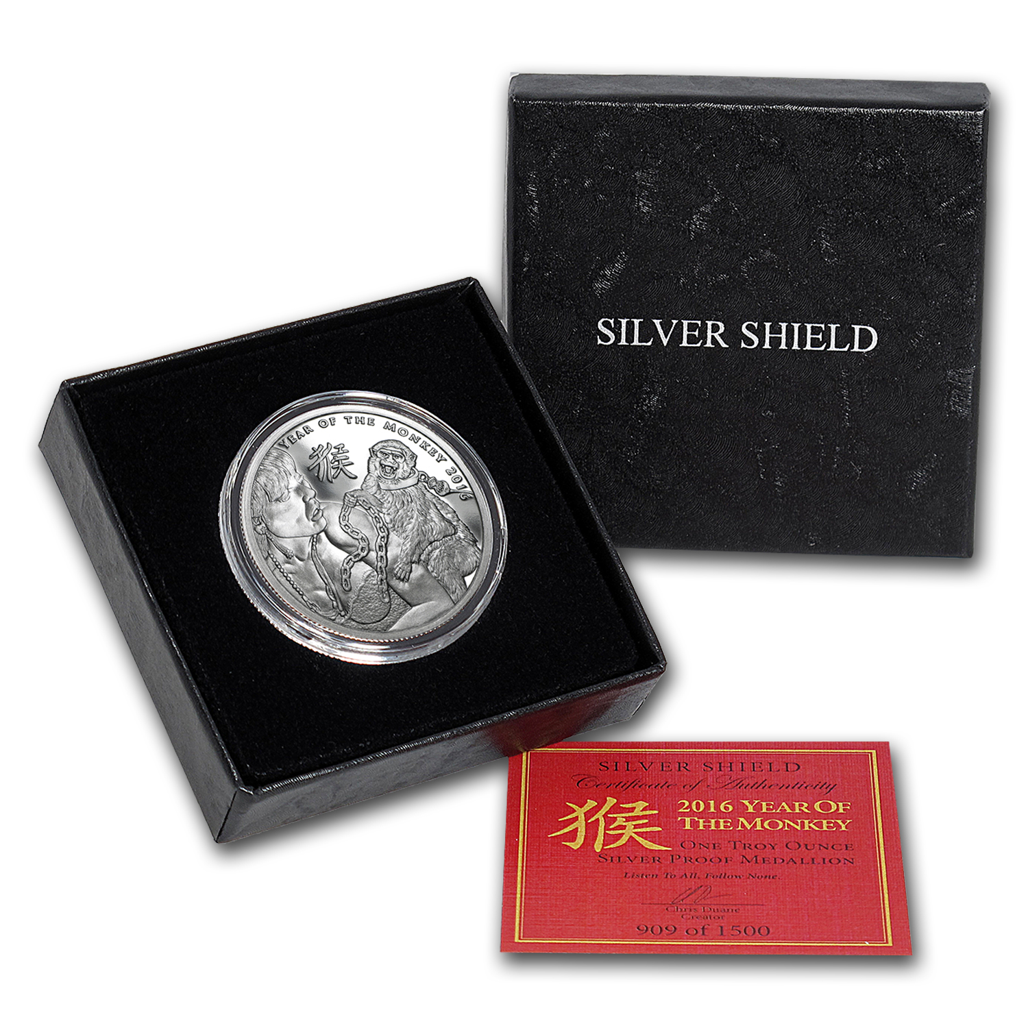 2016 1 oz Silver Proof Round - Year of the Monkey (w/Box & COA)