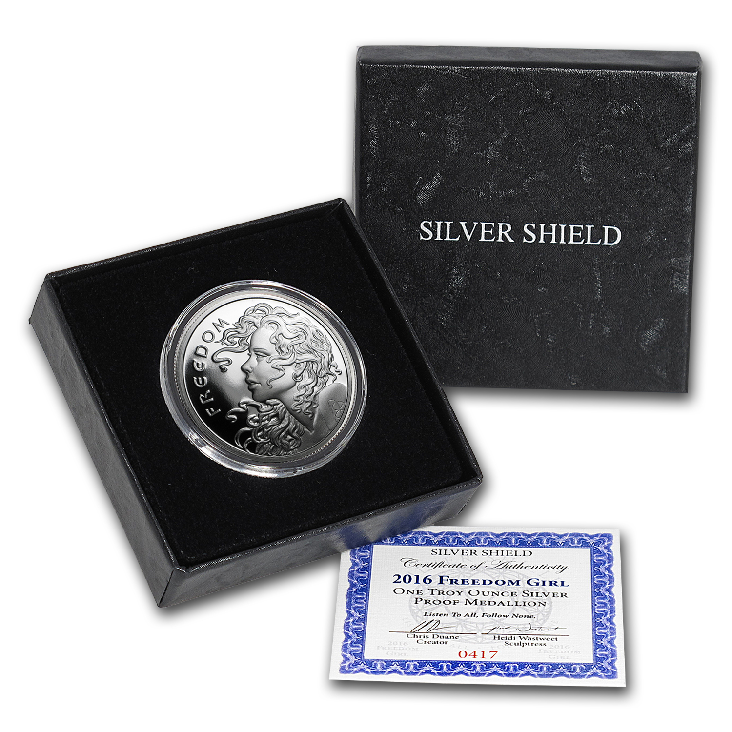 2016 1 oz Silver Proof Round - Freedom Girl (w/Box & COA)
