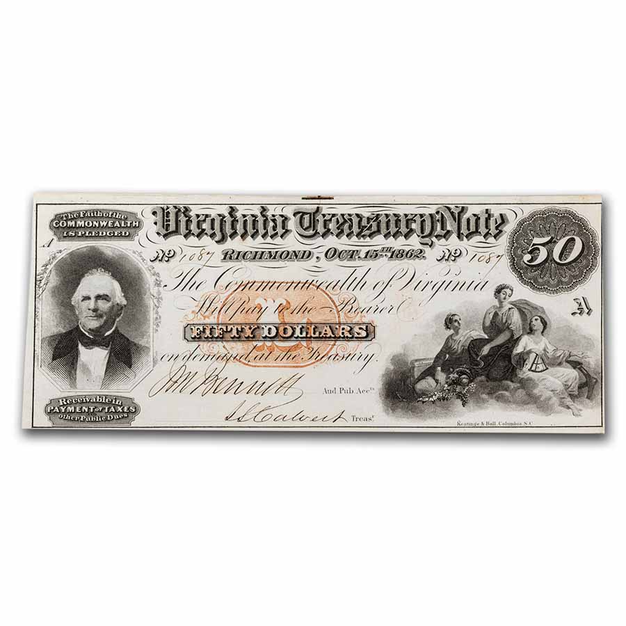 1862 Virginia Treasury Note $50.00 AU