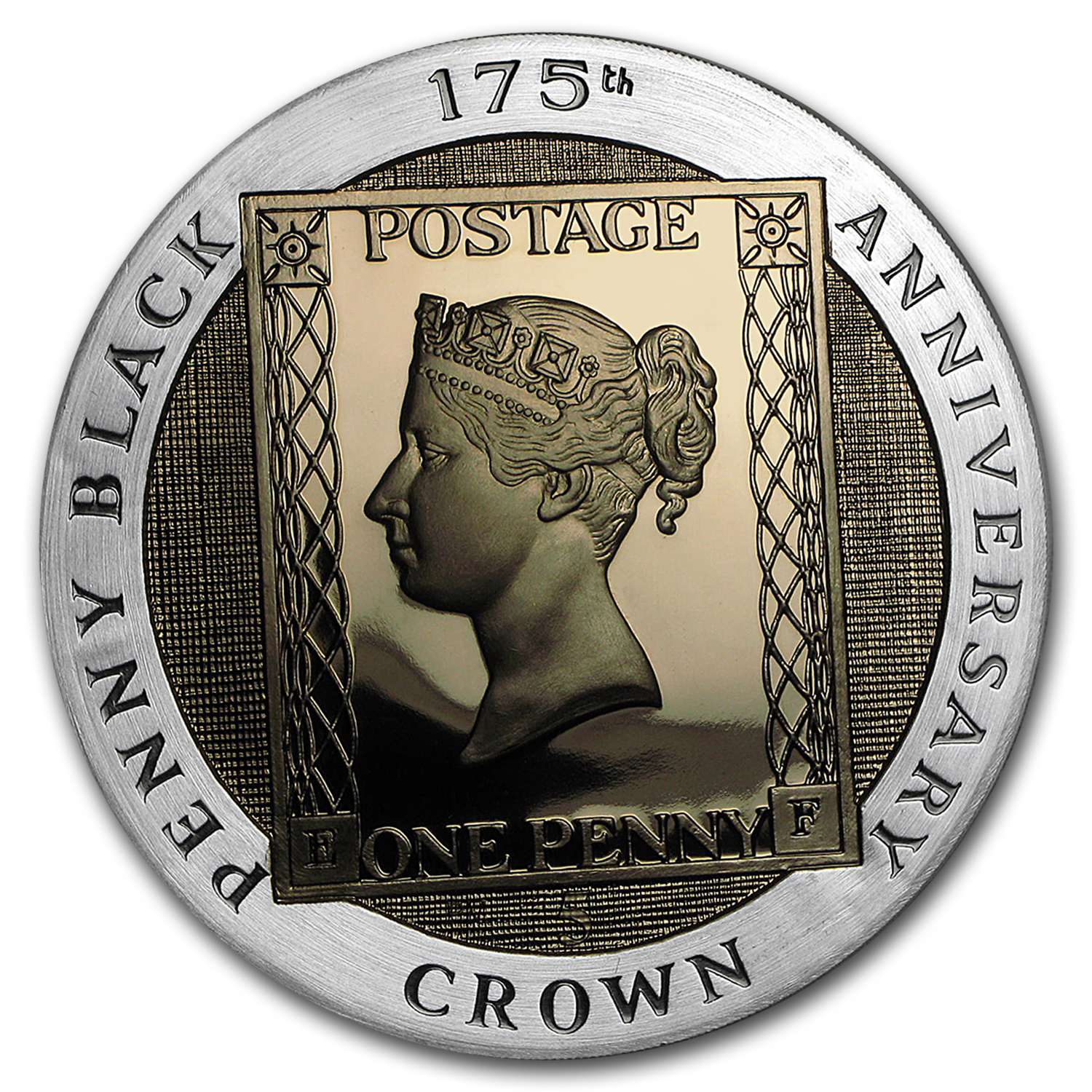2015 Isle of Man Silver 5 Crown 175th Anniv Penny Black Proof