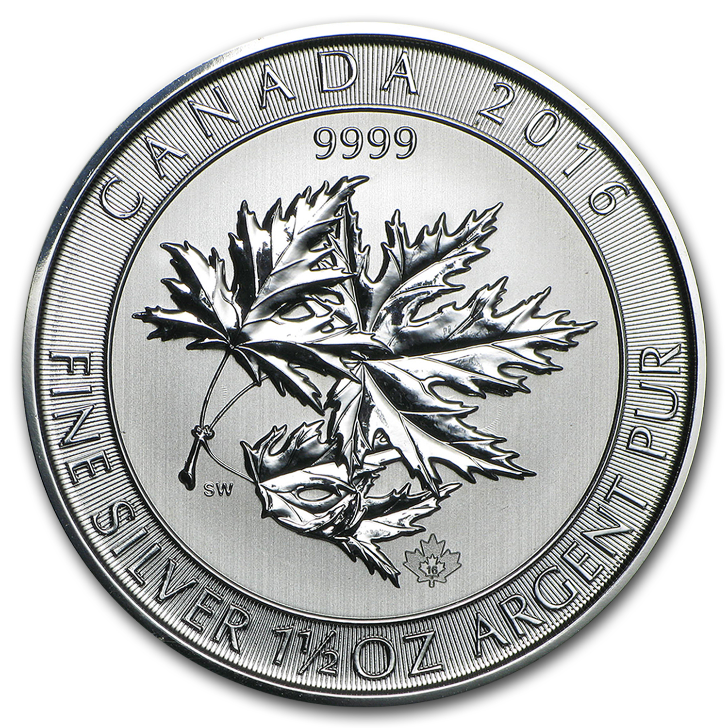 2016 Canada 1.5 oz Silver $8 SuperLeaf BU