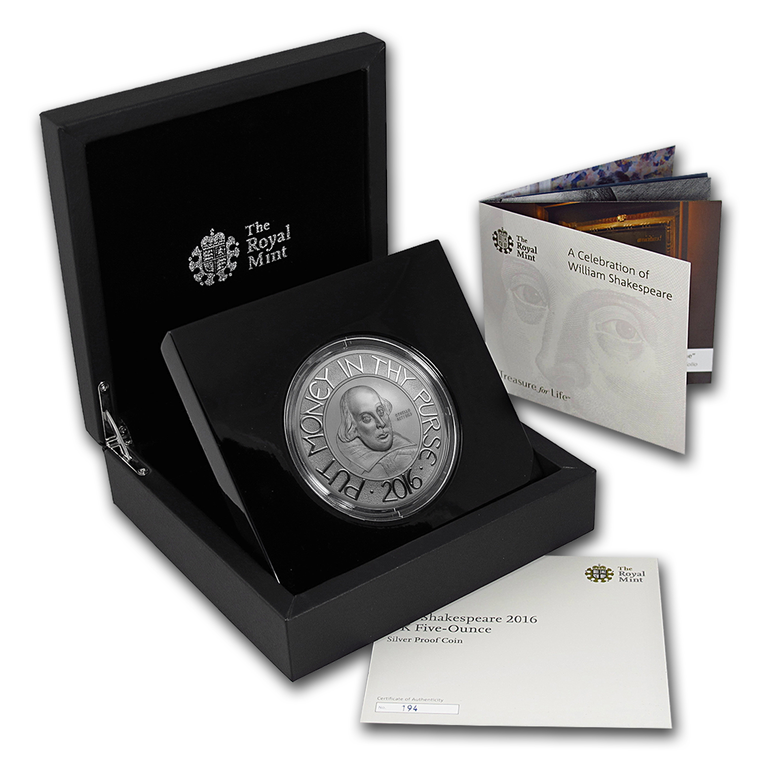 2016 Great Britain Silver 5 oz Shakespeare Proof (w/Box & COA)