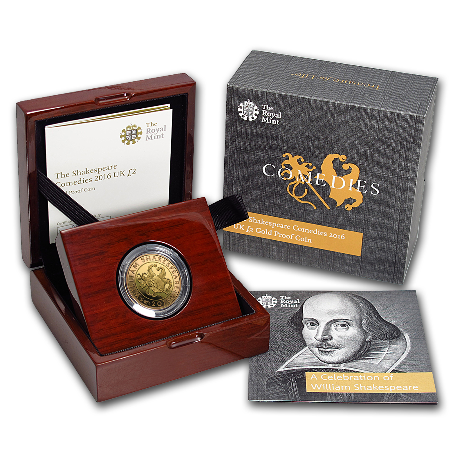 2016 Great Britain £2 Proof Gold Shakespeare Series: Comedies