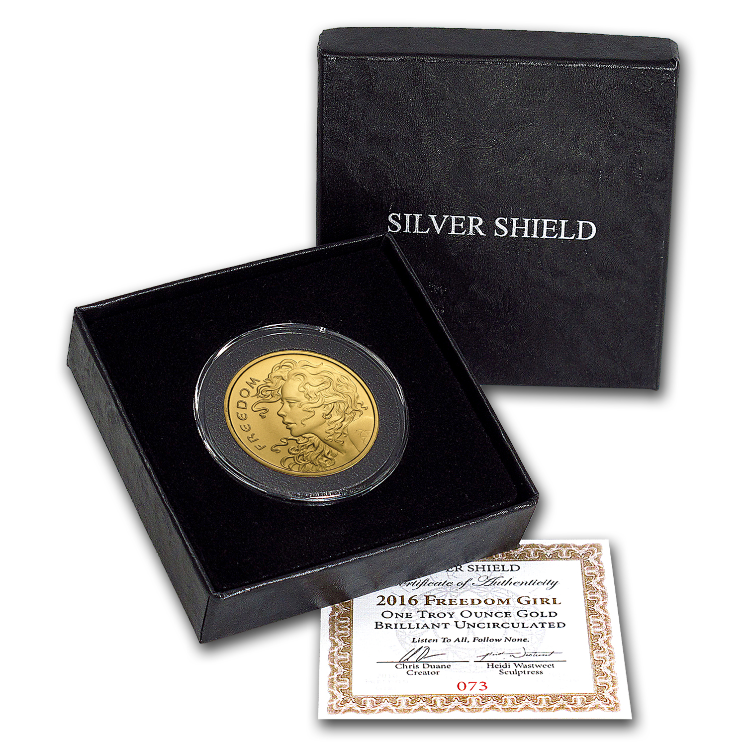 2016 1 oz Gold Round - Freedom Girl (w/Box & COA)