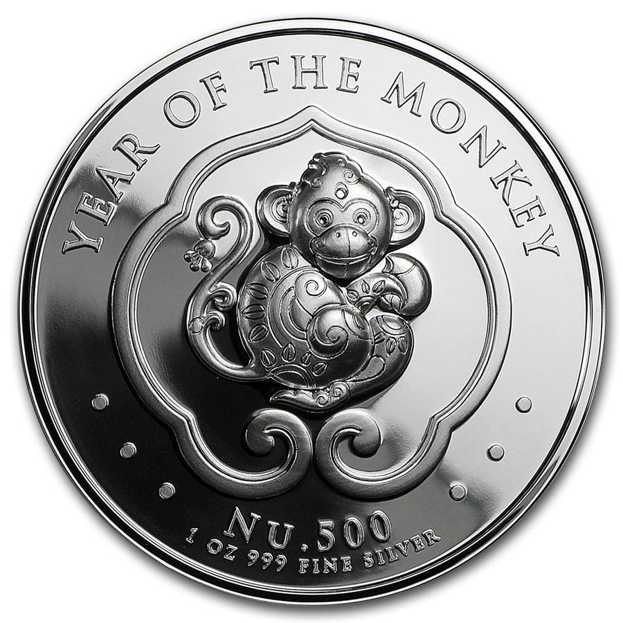 2016 Bhutan 1 Oz Proof Silver Lunar Monkey Hr Silver