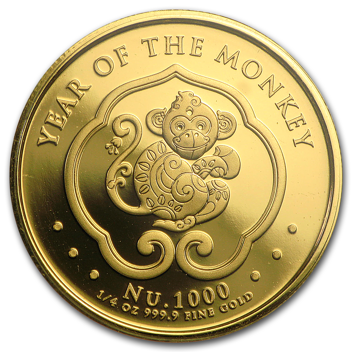 2016 Bhutan 1/4 oz Proof Gold Lunar Monkey