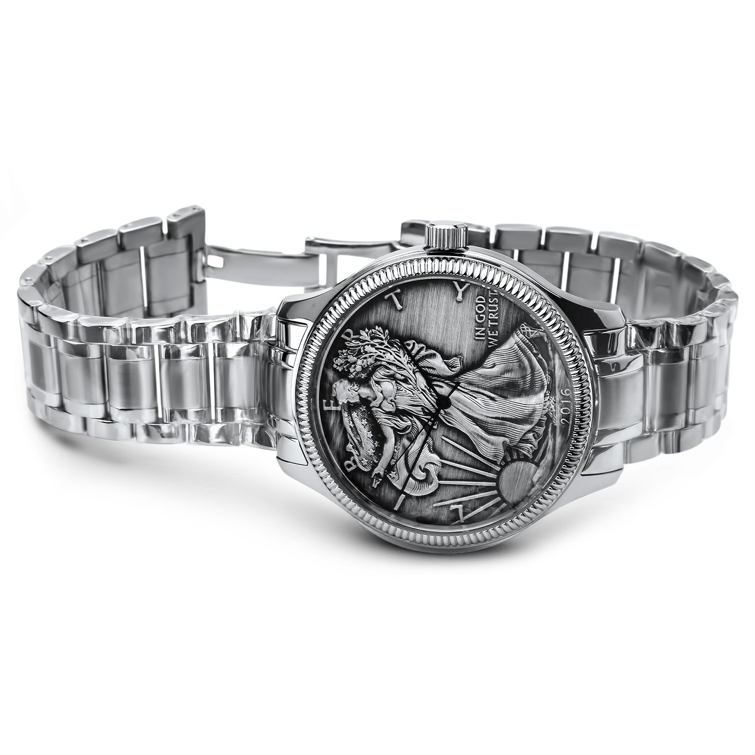 2016 Men's Antiqued SAE Watch Stainless Steel Bracelet