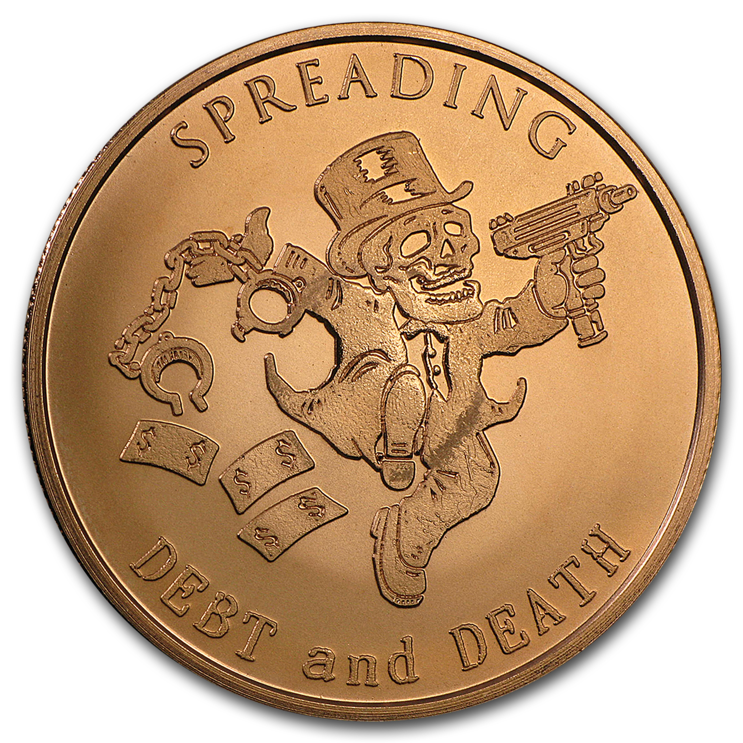 2016 1 oz Copper Round - Spreading Debt and Death