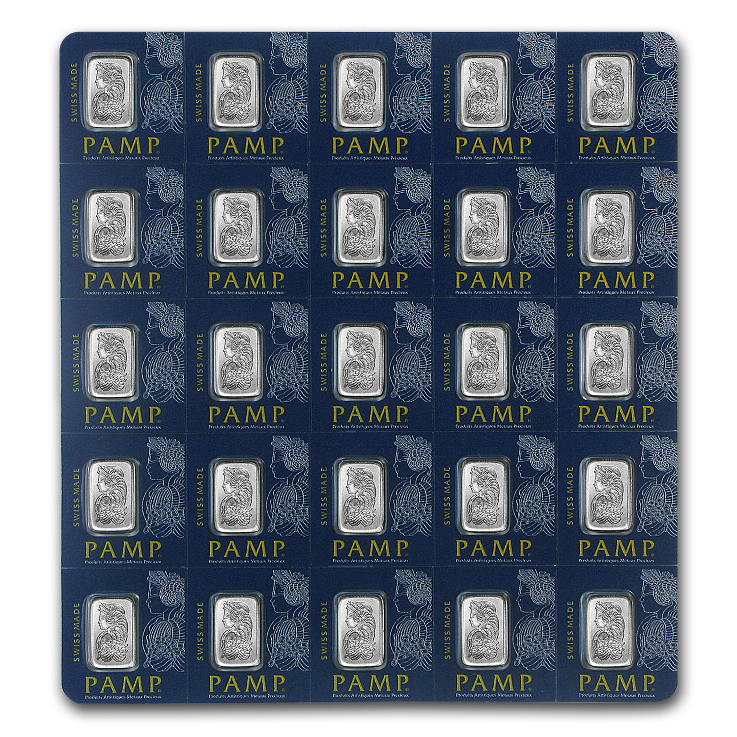 25x1 gram Platinum Bar PAMP Suisse Multigram+25 (In Assay)