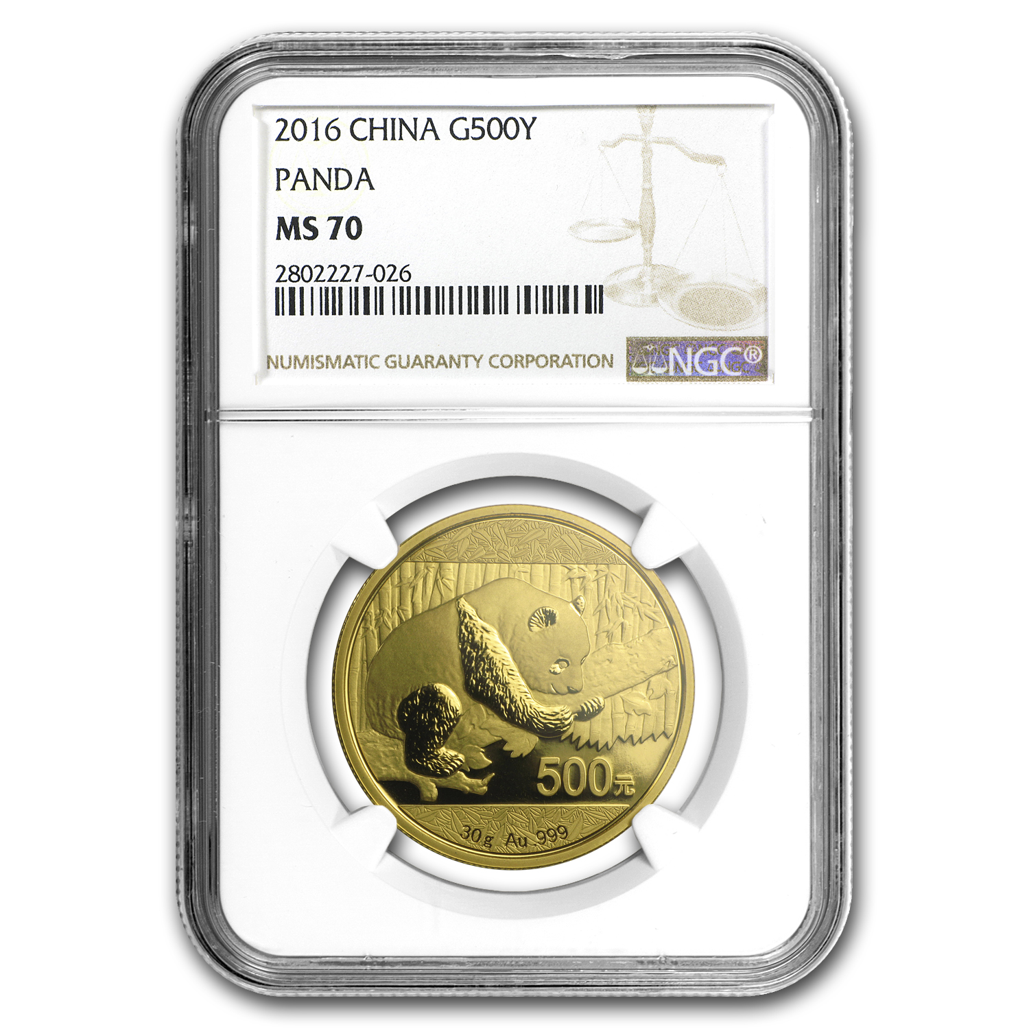 2016 China 30 Gram Gold Panda MS-70 NGC