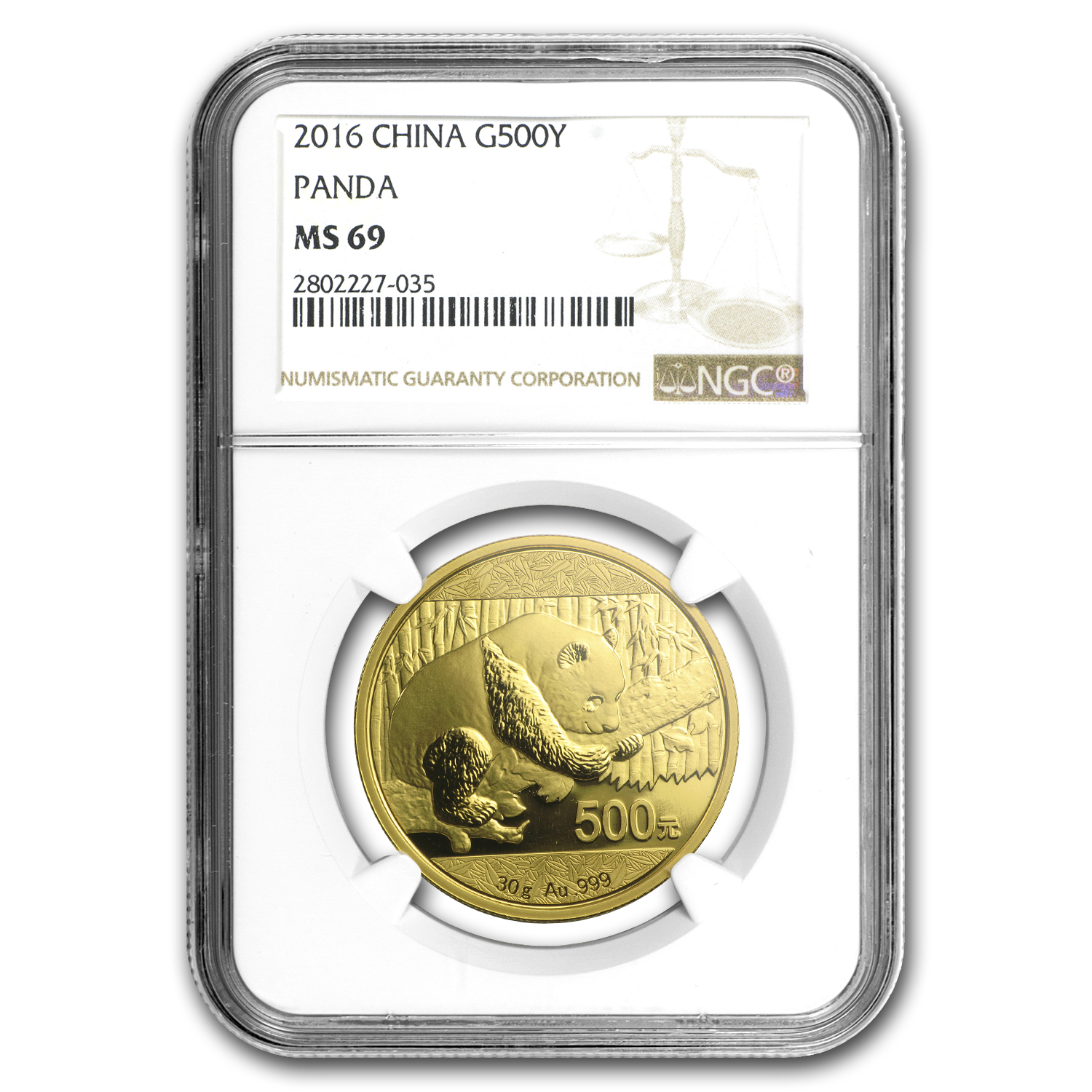 2016 China 30 Gram Gold Panda MS-69 NGC