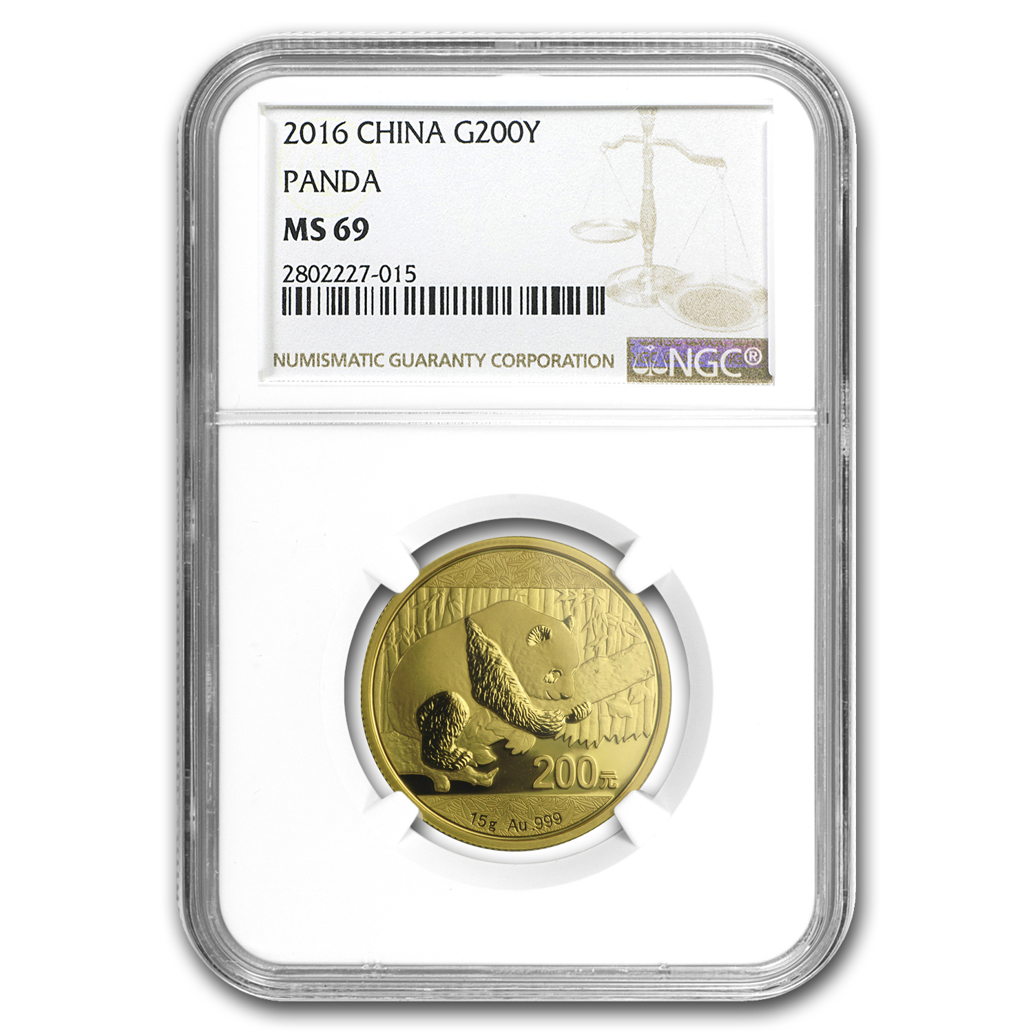 2016 China 15 Gram Gold Panda MS-69 NGC