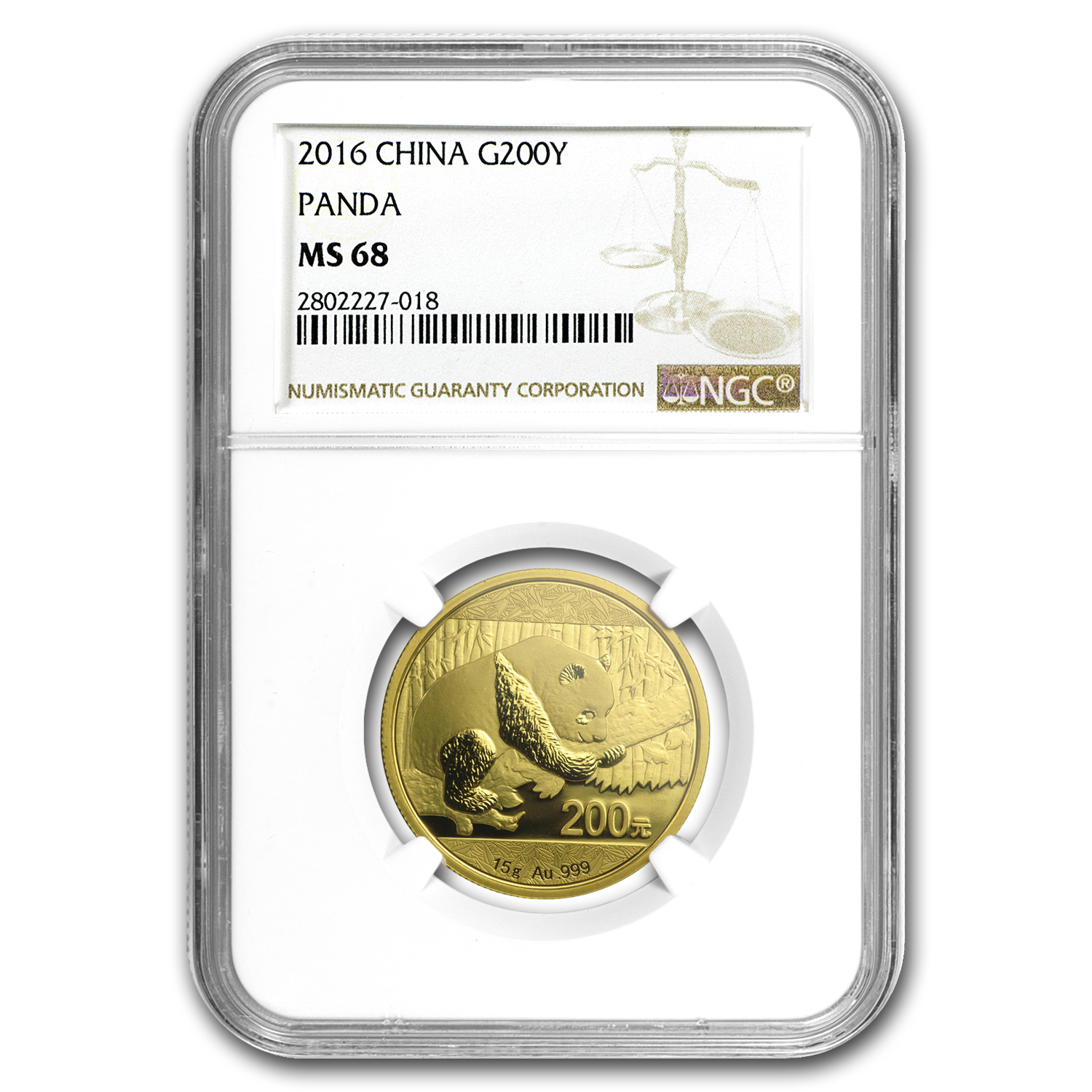 2016 China 15 Gram Gold Panda MS-68 NGC