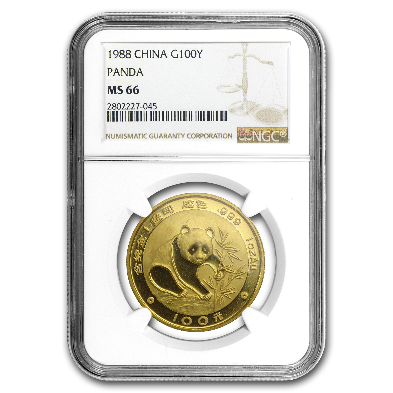 1988 China 1 oz Gold Panda MS-66 NGC