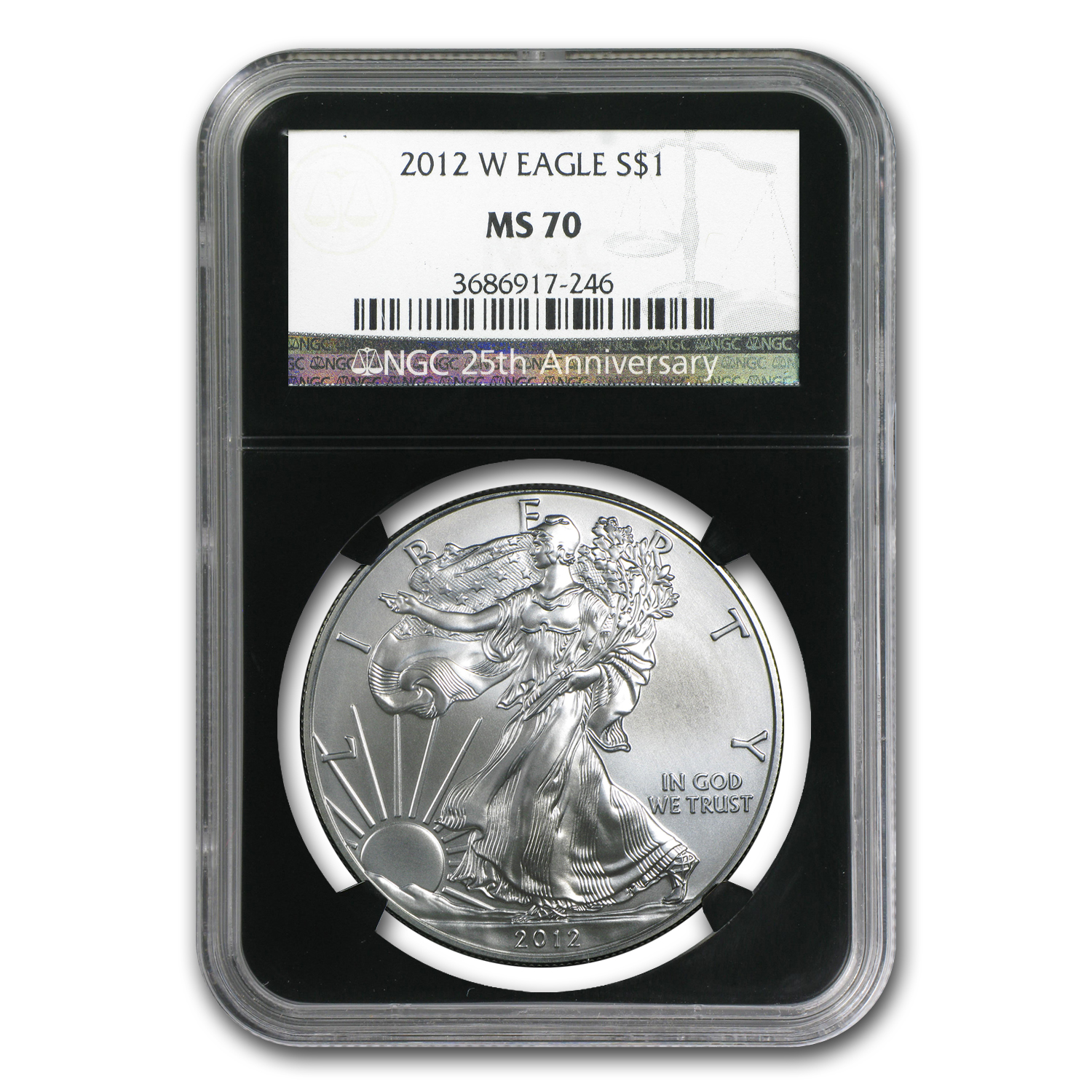2012-W Burnished Silver American Eagle MS-70 NGC (Black Holder)