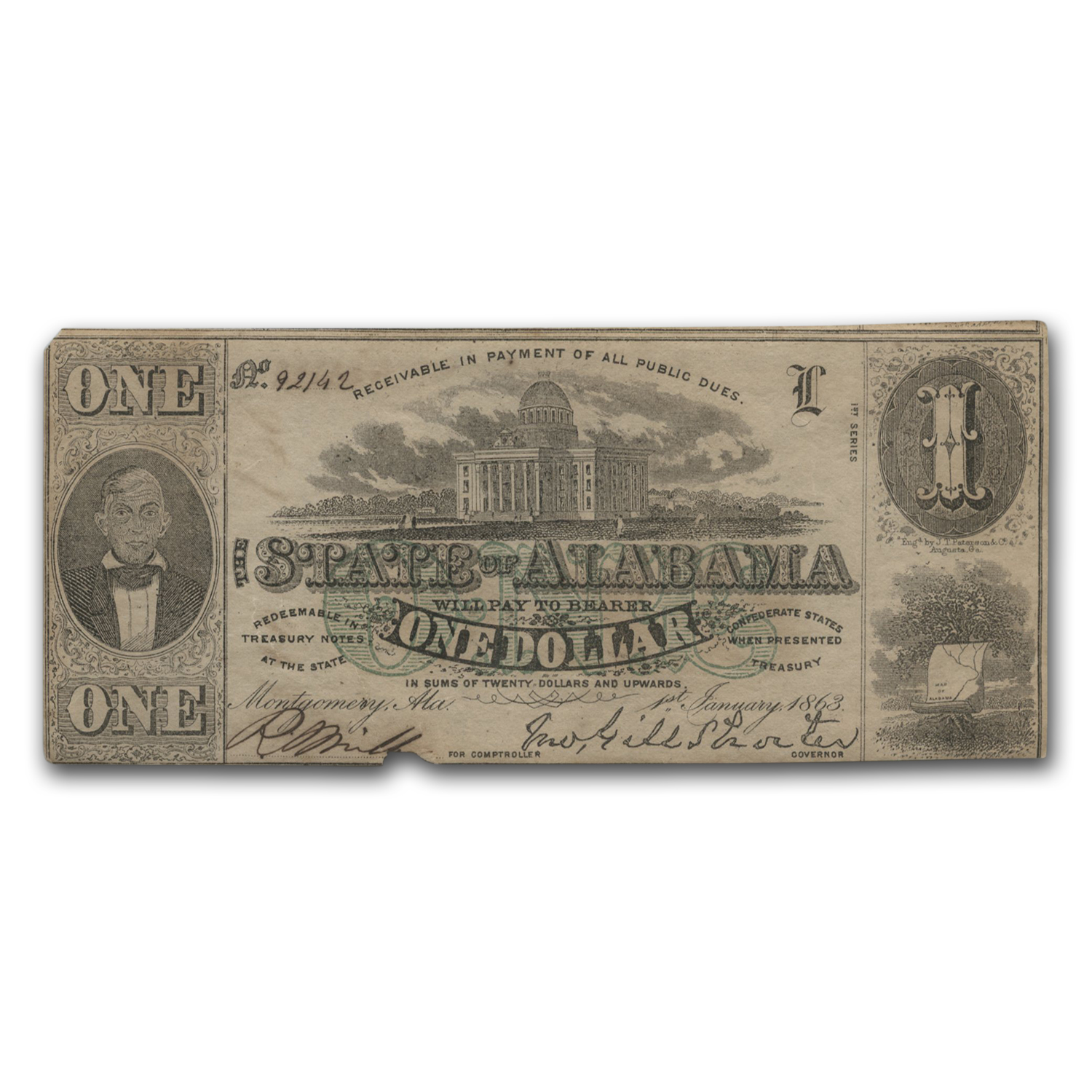1863 $1.00 State of Alabama (CR-2) VF
