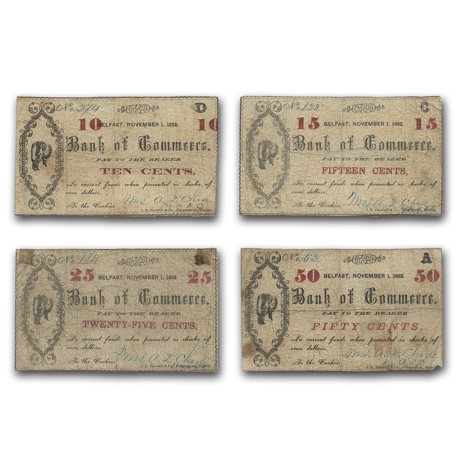 1862 Belfast, ME Bank of Commerce VG/VF (Set of 4)
